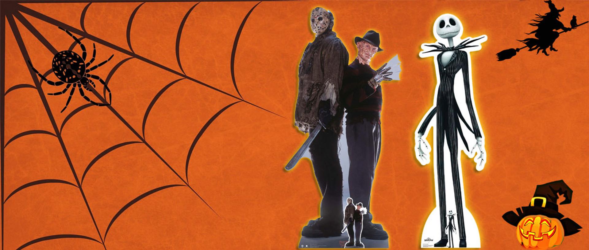 Halloween Store cardboard cutouts and masks
