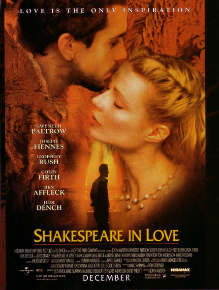 SHAKESPEARE IN LOVE (DOUBLE SIDED Regular) (1998) ORIGINAL CINEMA POSTER