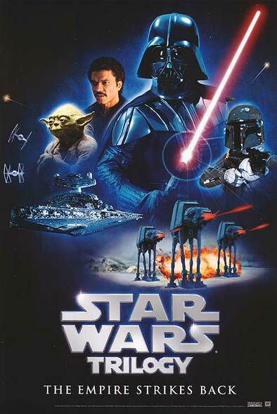 STAR WARS TRILOGY (The Empire Strikes Back Video) (1980) ORIGINAL CINEMA POSTER
