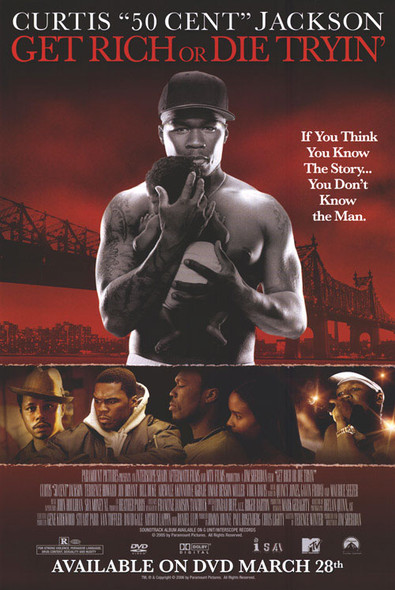 GET RICH OR DIE TRYIN' (SINGLE SIDED Video) (2005) ORIGINAL CINEMA POSTER