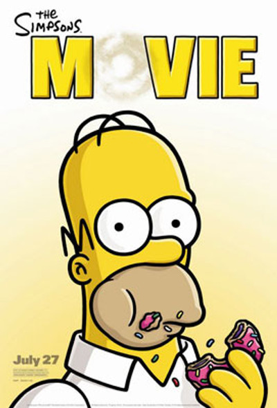 THE SIMPSON'S MOVIE (Single Sided Video) ORIGINAL VIDEO/DVD AD POSTER