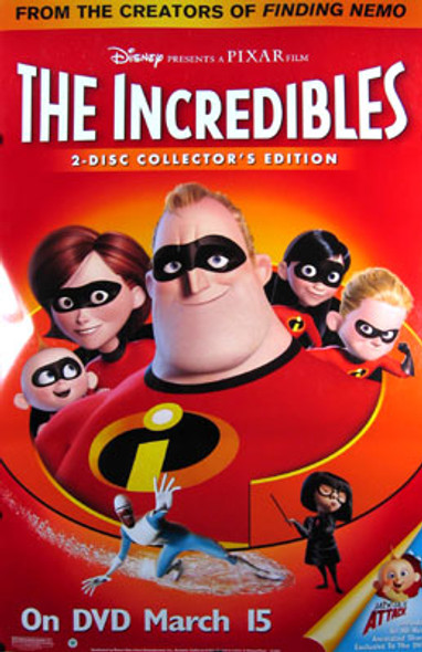 THE INCREDIBLES (Single Sided Video) ORIGINAL VIDEO/DVD AD POSTER