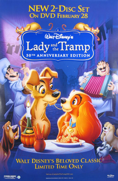 LADY AND THE TRAMP (Single Sided Video) ORIGINAL VIDEO/DVD AD POSTER