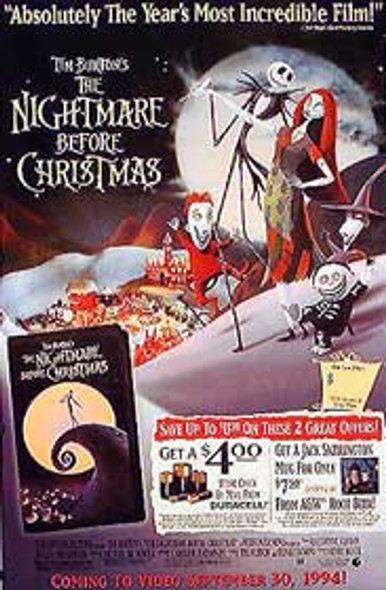 THE NIGHTMARE BEFORE CHRISTMAS (Single Sided Video) ORIGINAL VIDEO/DVD AD POSTER