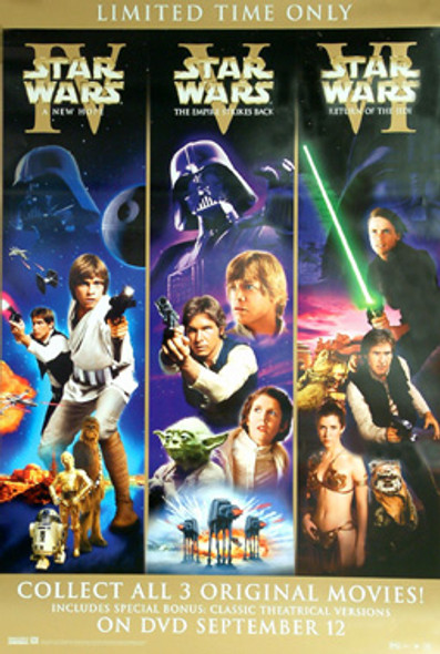 STAR WARS (Single Sided Video) ORIGINAL VIDEO/DVD AD POSTER