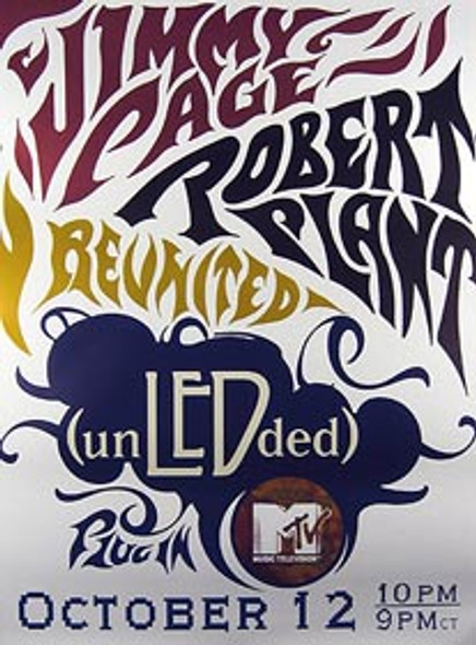 PAGE AND PLANT: REUNITED (Rare MTV Concert) ORIGINAL MUSIC POSTER