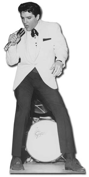 Elvis Singing in White Jacket with Drum cardboard cutout