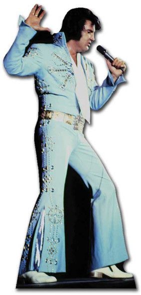 Elvis Singing Wearing Blue Jump Suit cardboard cutout