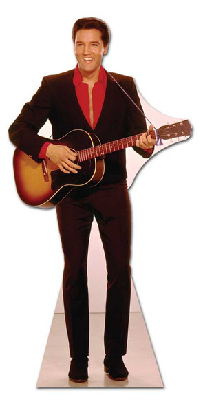 Elvis in Red Shirt with Guitar cardboard cutout
