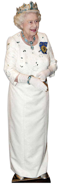 Queen Elizabeth II - White Dress Lifesize Cardboard Cutout