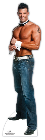 Nathan wearing Bow Tie and Shirt Cuffs - Chippendales Lifesize Cardboard Cutout / Standee