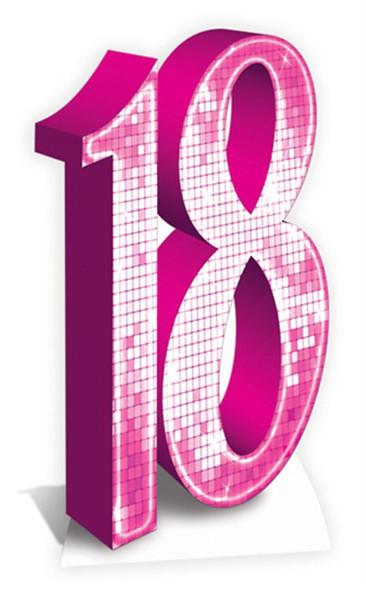 Number 18 Pink Cardboard Cutout