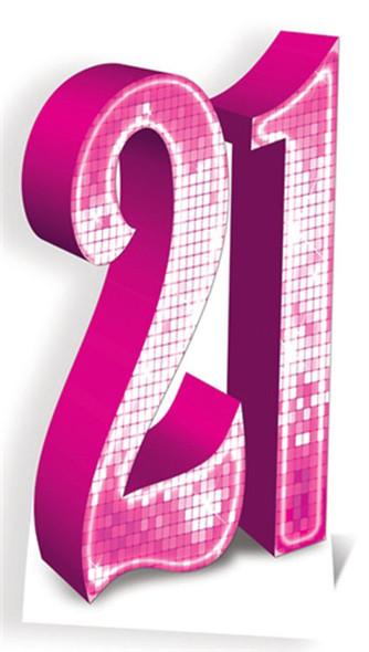 Number 21 Pink Cardboard Cutout