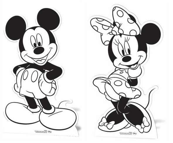 Mickey Mouse & Minnie Mouse Colour and Keep Cardboard Cutouts