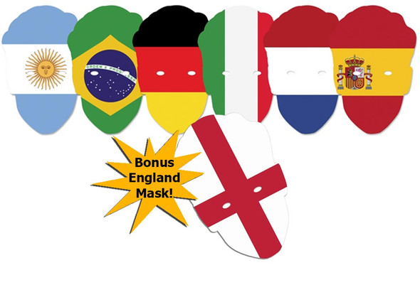 World Cup Contenders Flags Party Face Masks