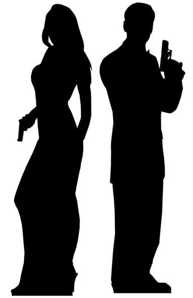 Secret Agent Male & Female Double Pack Cardboard Cutout set