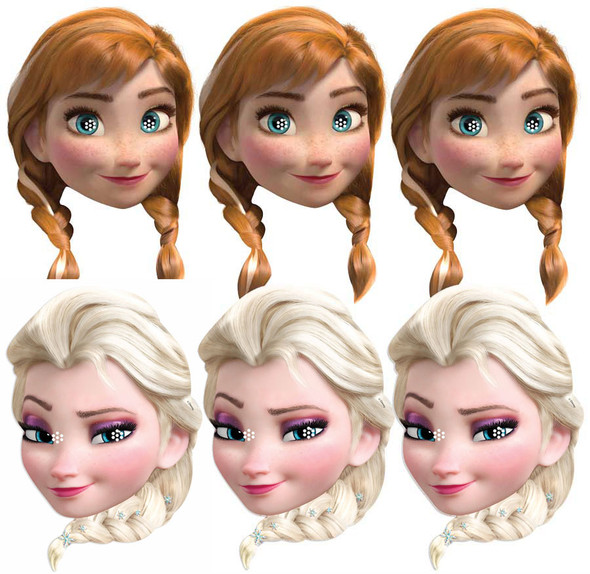 Anna and Elsa from Frozen Party Face Mask Pack Of Six