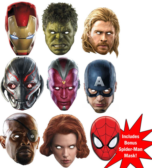 Avengers Age of Ultron Marvel Super Hero Set of 9 Variety Face Mask Pack