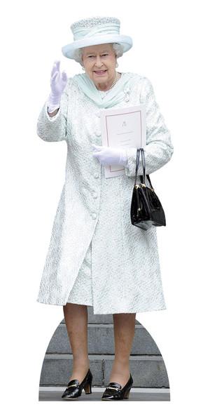 Queen Elizabeth in White Coat Lifesize Cardboard Cutout