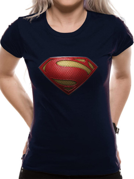 Man Of Steel Superman Textured Logo DC Comics Official Women's T-Shirt
