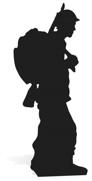World War Wartime Soldier Silhouette Lifesize Cardboard Cutout