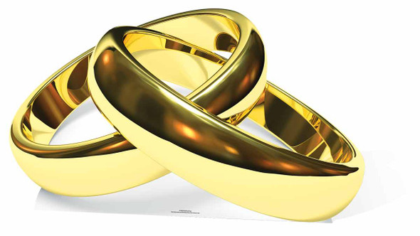 Gold Wedding Rings Cardboard Cutout / Standee / Stand Up