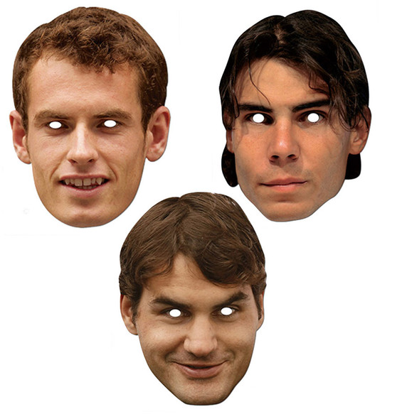 Tennis Stars Murray, Nadal & Federer Card Party Face Masks