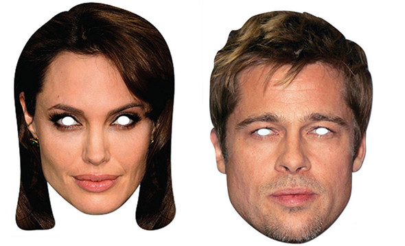 Brad Pitt & Angelina Jolie Card Party Face Masks