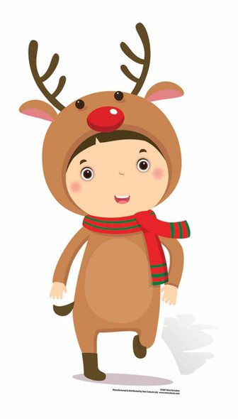 Mini Reindeer Boy Cardboard Cutout
