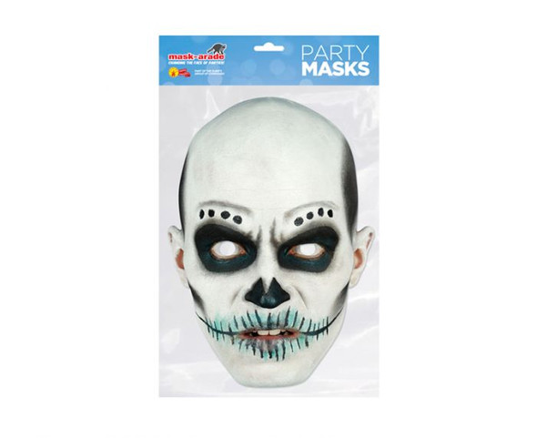 Day of the Dead White Zombie Male Single 2D Card Party Face Mask