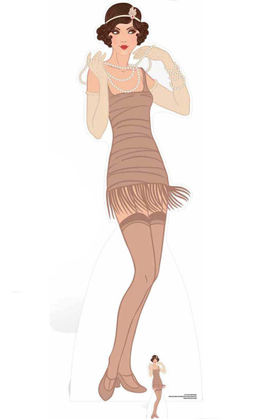 Flapper Girl Beige Dress Lifesize and Mini Cardboard Cutout