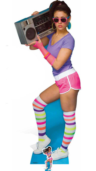 1980s Boombox Girl Lifesize and Mini Cardboard Cutout