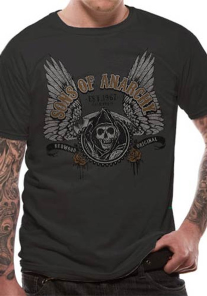 Sons of Anarchy Winged Logo Official Unisex Grey -Shirt