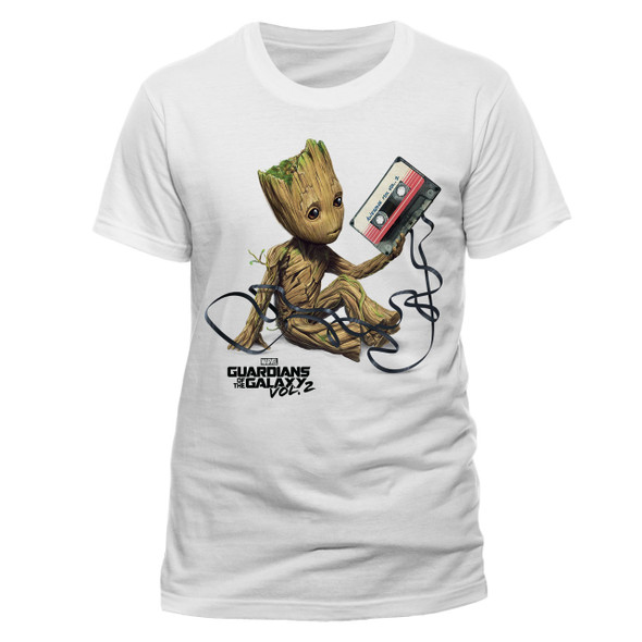 Baby Groot with Tape Guardians Of The Galaxy Vol. 2 Unisex White T-Shirt