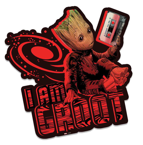 Baby Groot Holding Awesome Mixtape Guardians of The Galaxy Vol. 2 3D Effect Cardboard Cutout Wall Art