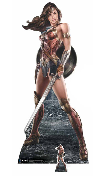 Wonder Woman holding shield and sword Gal Gadot lifesize plus mini cardboard cutout