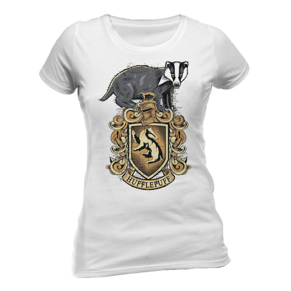 Harry Potter Hufflepuff Crest Fitted Ladies T-Shirt