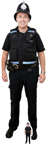 British Policeman with Helmet Lifesize Cardboard Cutout / Standee