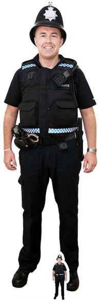 British Policeman with Helmet Lifesize Cardboard Cutout / Standee