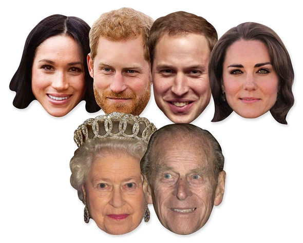 Royal Wedding 2018 Face Masks - 6 Pack inc Harry & Meghan & The Queen