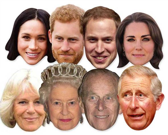 Royal Wedding 2018 Face Masks - Royal Family 8 Pack inc Harry & Meghan