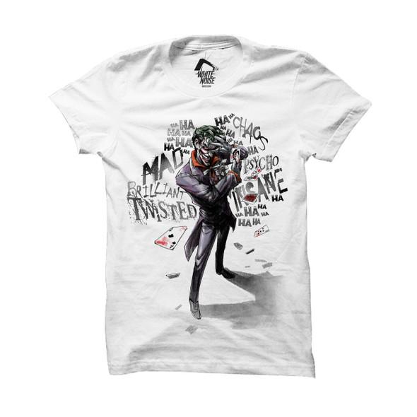 Batman Joker Insane Logo White Official DC Comics Unisex T-Shirt
