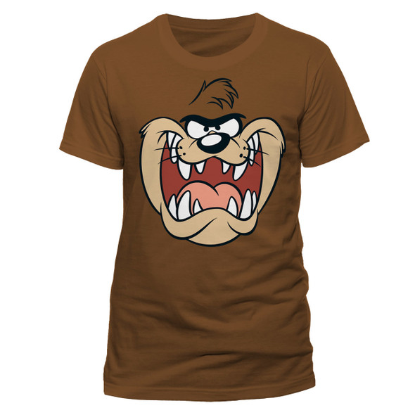 Looney Tunes Taz Face Official Unisex Brown T-Shirt