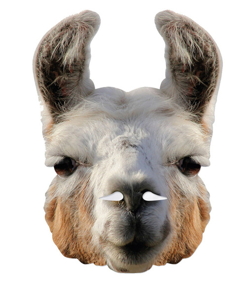 Llama Animal 2D Card Party Face Mask