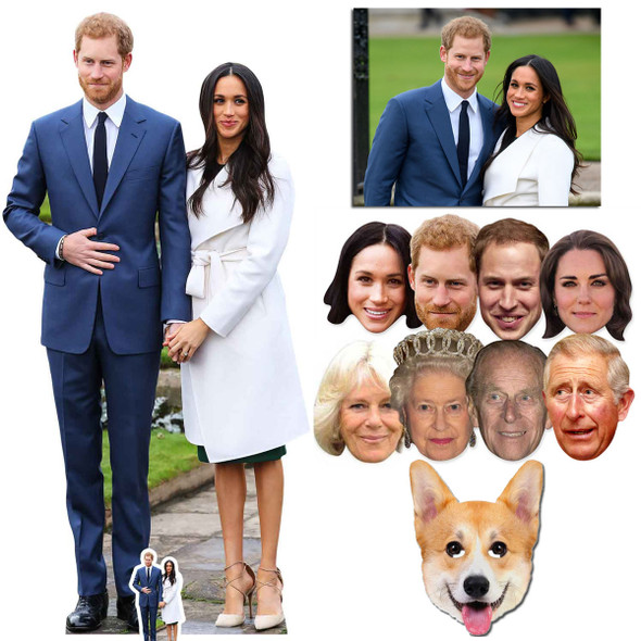 Royal Wedding 2018 Prince Harry and Meghan Markle Cutout and Mask Silver Package