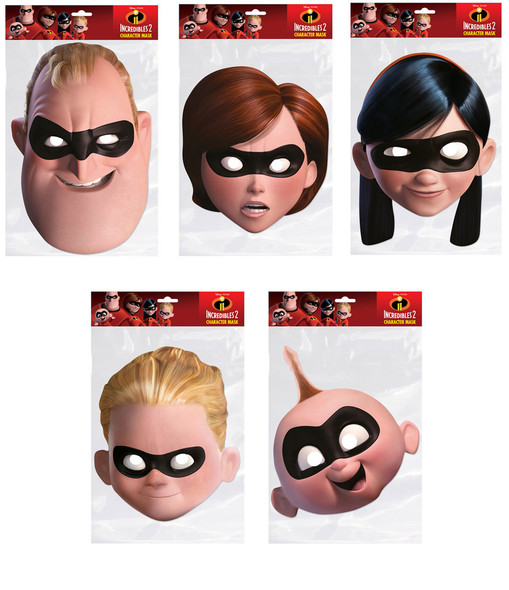 Incredibles 2 Official 2D Card Party Face Masks Variety 5 Pack