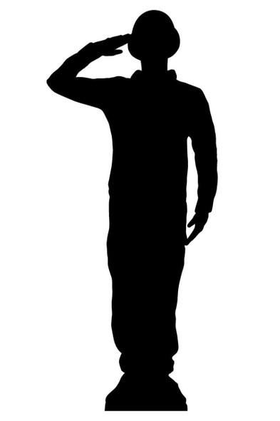 Saluting Wartime Soldier Silhouette Lifesize Cardboard Cutout