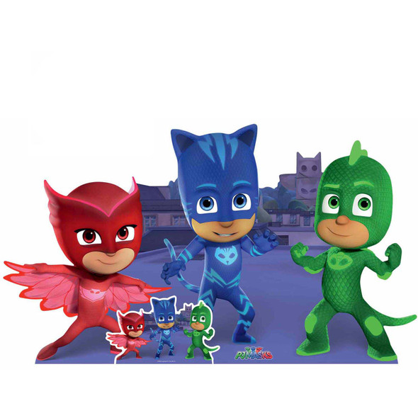 PJ Masks Group Pose with Catboy Gekko Owlette Cardboard Cutout / Standup