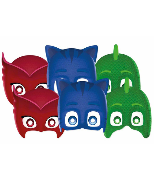 PJ Masks Licensed 2D Card Party Face Masks Variety Pack of 6