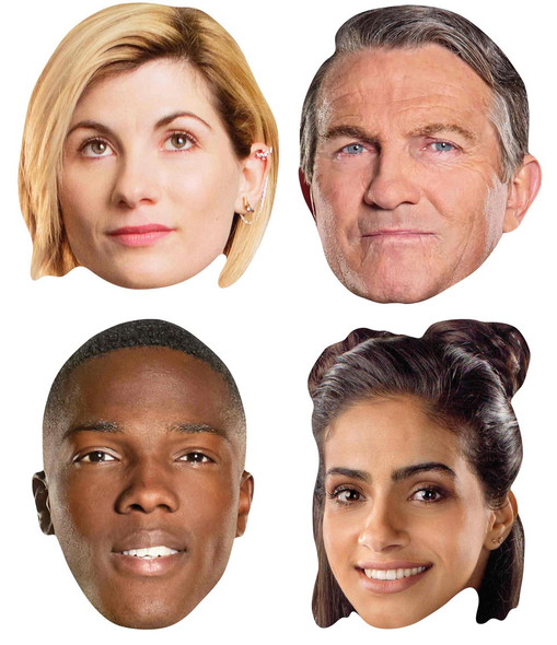 13th Doctor Who masks - set of 4